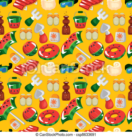 beach accessories seamless pattern - csp8633691