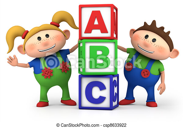 boy and girl with ABC blocks - csp8633922