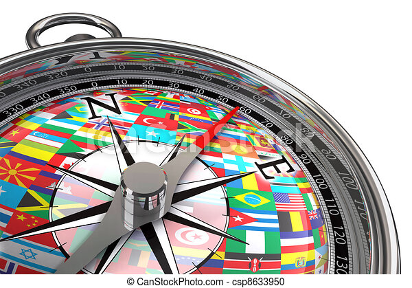 compass with flags travel metaphor - csp8633950