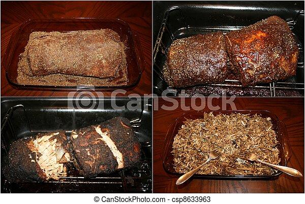 Pork BBQ Collage:Steps to prepare - csp8633963