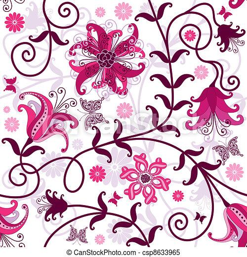Seamless white floral pattern - csp8633965