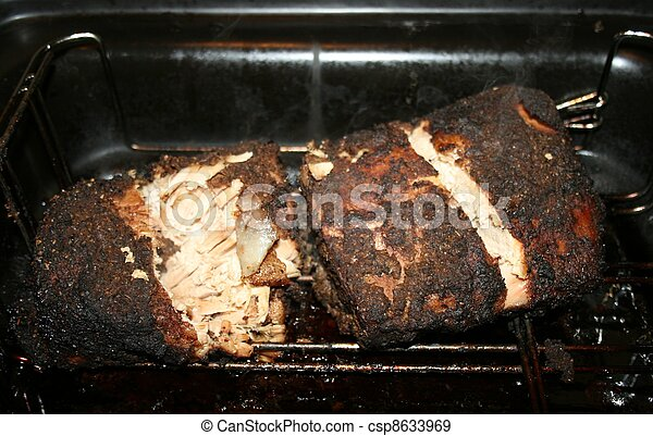 Pork BBQ Step 3 Cooked, Steam rising - csp8633969