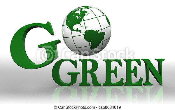 go green logo word and earth globe - csp8634019