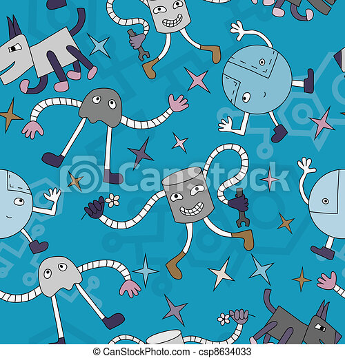 Seamless pattern with funny robors - csp8634033