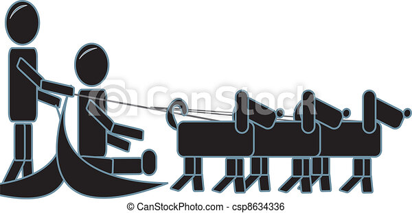 Clip Art Vector of Stick Figures Dog sledding - simple drawing of ...
