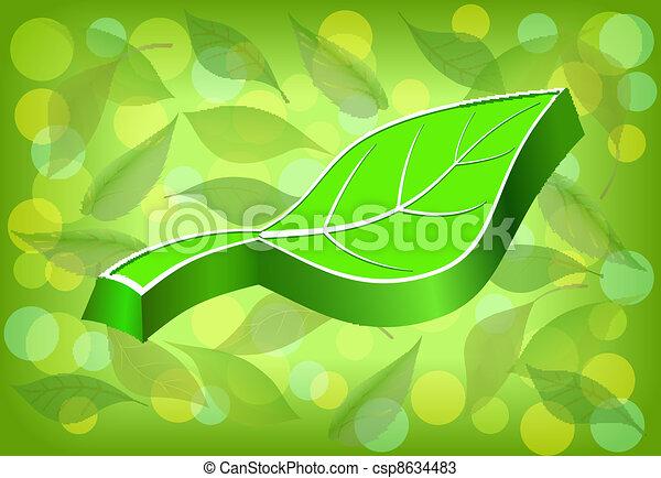 Embossed green leaf. - csp8634483