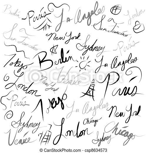 Travel Location Handwriting Doodle - csp8634573