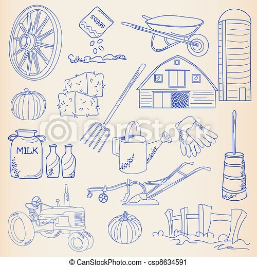 Hand Drawn Farming Icon Set - csp8634591