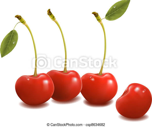 Sweet cherries with leaves - csp8634682