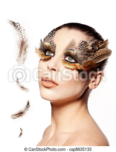 Beautiful Bird Woman - csp8635133