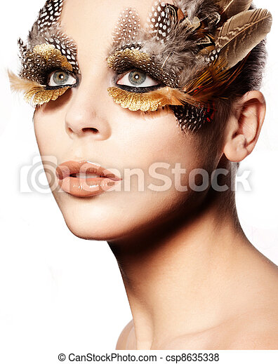 Creative Feathered Eye Makeup - csp8635338