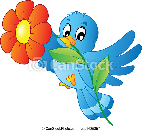 Vectors Illustration Of Blue Bird Carrying Flower Vector