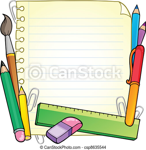 Notepad blank page and stationery 1 - csp8635544
