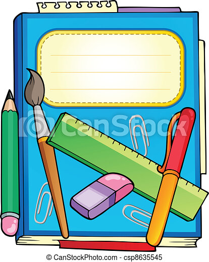 School notepad with stationery - csp8635545