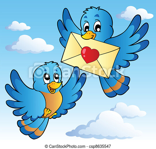 Two cute birds with love letter 1 - csp8635547