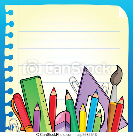 Notepad blank page and stationery 2 - csp8635548