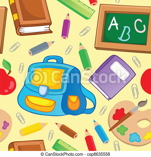 School theme seamless background 1 - csp8635558