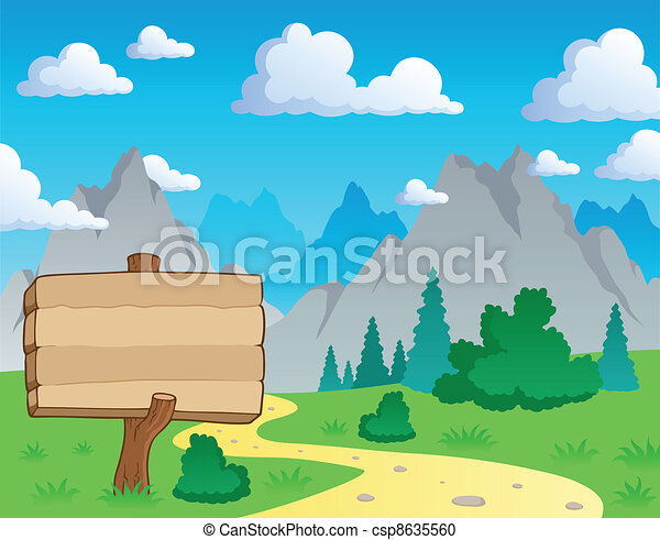 Mountain theme landscape 2 - csp8635560