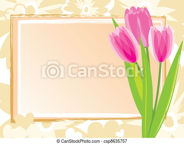 Festive card with pink tulips - csp8635757