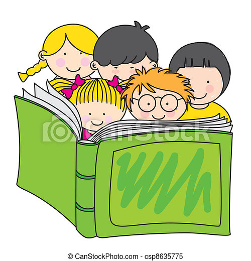 children reading a book  - csp8635775