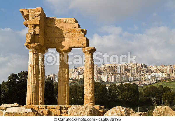 Ruins of Castor and Pollux temple in Agrigento. - csp8636195
