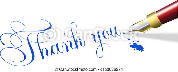 Thank you note fountain pen write - csp8636274