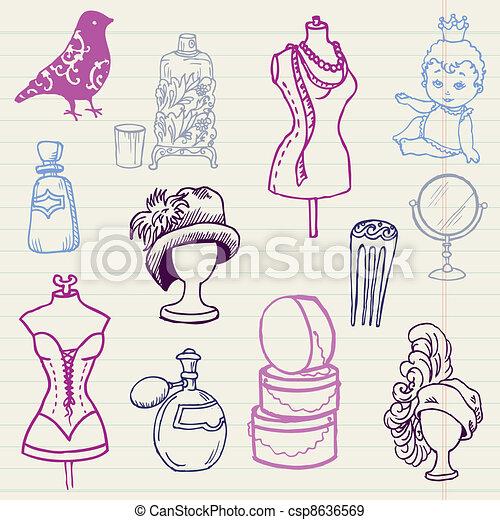 Eps vectores de conjunto dibujado mano vector for Dibujos de disenos de moda