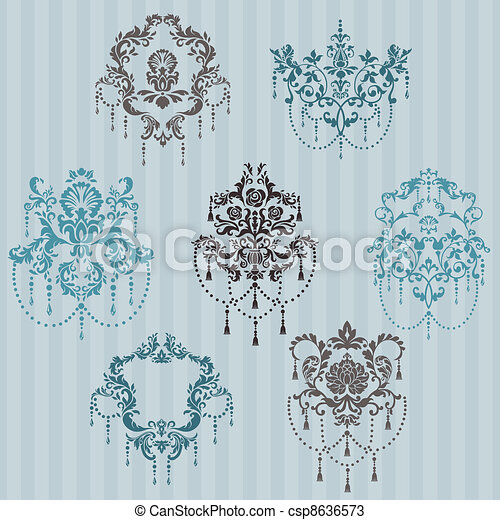 Set of ornamental DAMASK illustrations - for your design, invitation, greetings in vector - csp8636573
