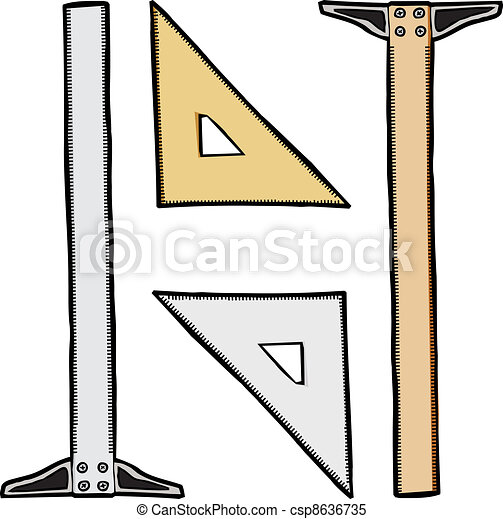 Clipart vector of triangle and t square generic clear for Architecture t square