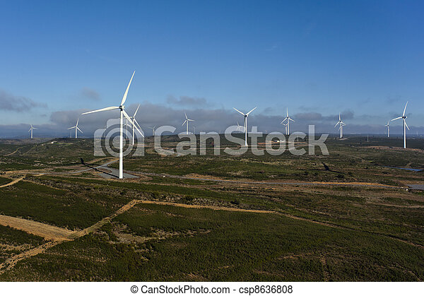 Aerial view of a set of windmills for electric power generation - csp8636808