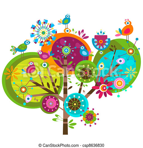 Vector Clipart of whimsy flowers - whimsy flower tree and ...