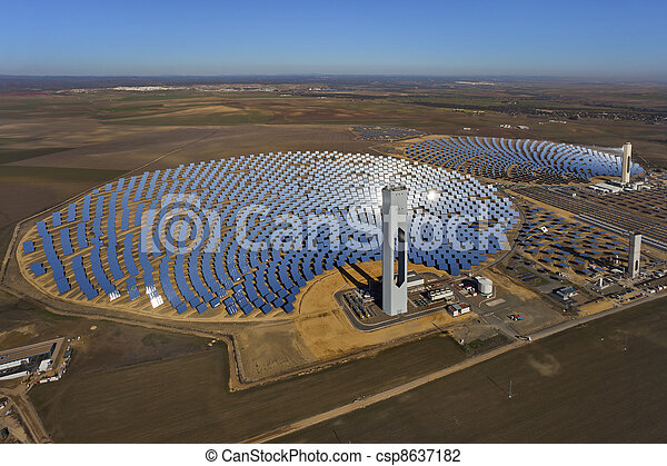 aerial view of solar thermal power plant - csp8637182