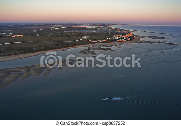 aerial view of the beach of Isla Canela in Ayamonte, Huelva, Andalusia, Spain - csp8637252