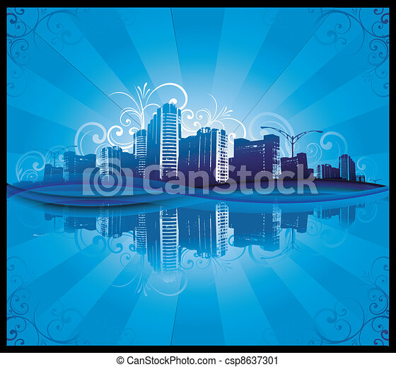 Cityscapes silhouettes background - csp8637301