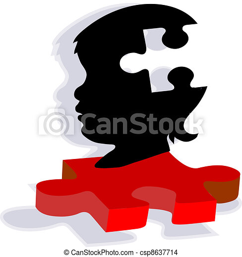 Child Silhouette on Autism Puzzle - csp8637714