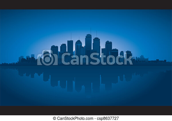 Cityscapes silhouettes background - csp8637727