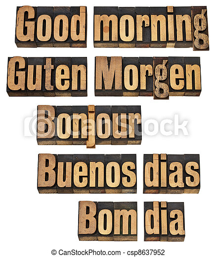 Good morning in five languages - csp8637952