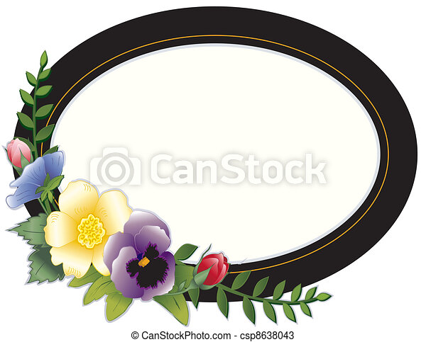 Vectors of Vintage Frame, Pansies and Roses - Oval Victorian frame ...