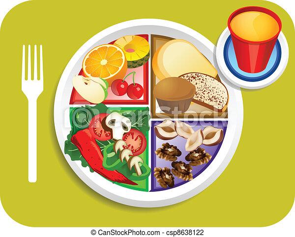 Food My Plate Vegan Breakfast Portions - csp8638122