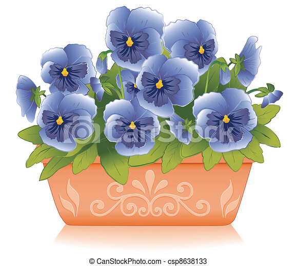 Blue Pansy Flowers, Clay Flowerpot - csp8638133