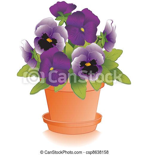 Lavender, Purple Pansies, Flowerpot - csp8638158