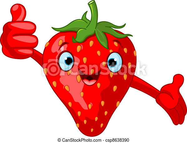 Cheerful Cartoon Strawberry charac - csp8638390