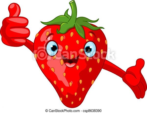 Cheerful Cartoon Strawberry charac - csp8638390