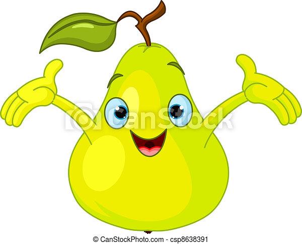Cheerful Cartoon Pear character - csp8638391