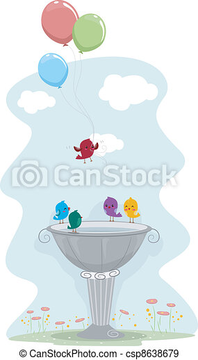 Bird Carrying Balloons - csp8638679