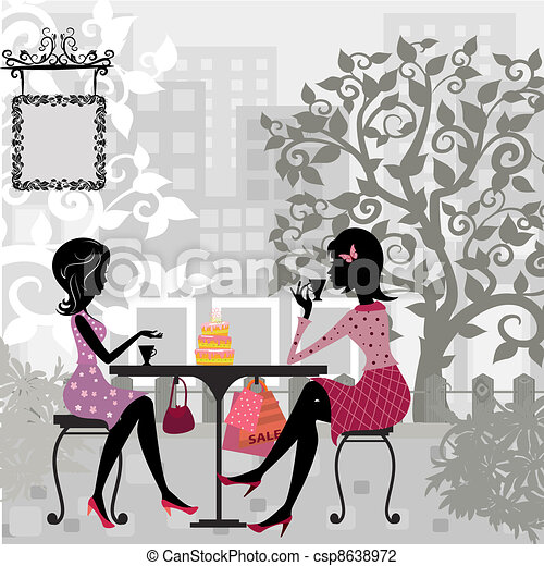 girl in a summer cafe and cake - csp8638972