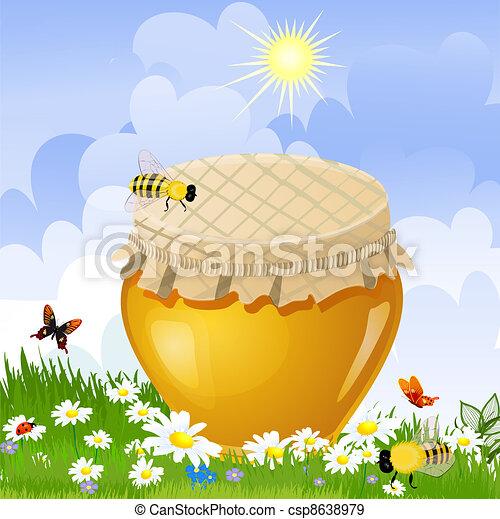 jar sweet honey in the flower meadow - csp8638979