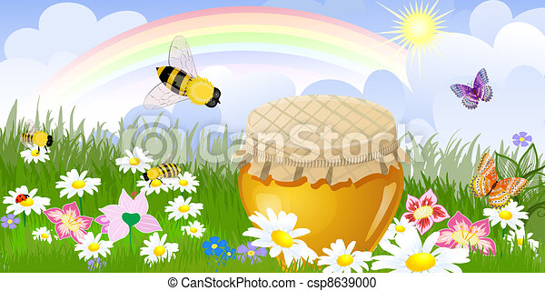 Summer panorama from a jar sweet honey Illustration contains a t - csp8639000