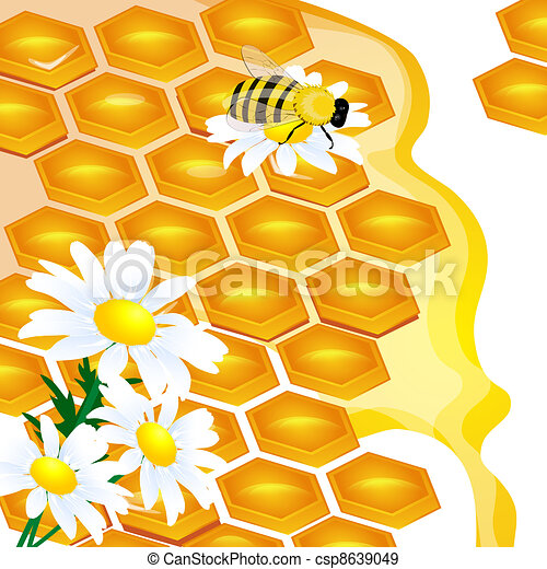design of honeycomb and flowers Illustration contains a transpar - csp8639049