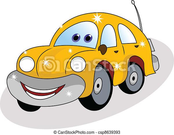 funny yellow car  - csp8639393